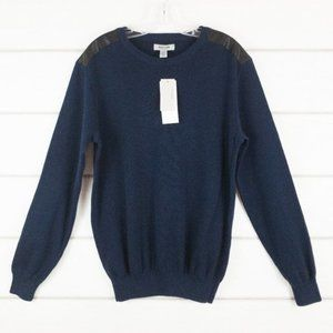 Kenneth Cole Reaction Sweater Navy Faux Leather XL